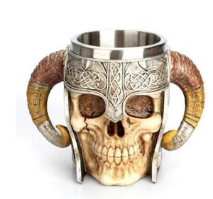 Acier inoxydable Tasse de crâne Viking Timbale squelette résine Bière Stein Tankard tasse de café tasse de thé Halloween Bar Verres & cadeaux