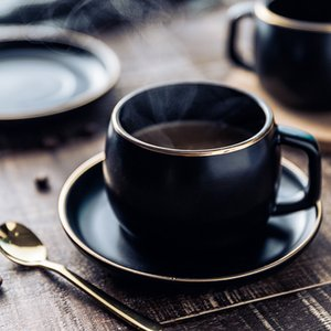 MUZITY Ceramic Coffee Cup and Saucer Black Pigmented Porcelain Tea Cup Set with Stainless Steel 304 Spoon Y200107