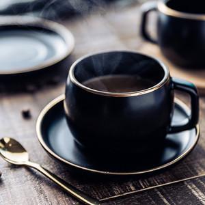 MUZITY Keramik Kaffeetasse und Untertasse schwarz pigmentiert Porzellan-Tee-Schalen-Satz mit Edelstahl 304 Löffel Y200107