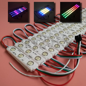 12V WS2811 5050 LED RGB Faixa de módulo de luz Tape 3LEDs endereçável Sonho Mágico Change Color Injection capa impermeável para o sinal janela frontal