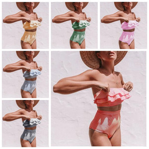 Kinder Bademode Mädchen Falbala Badeanzug-Frau mit hohen Taille Bikini-Frauen 2 Stück Ethika stellt unregelmäßige Streifen Bikini Strand Badeanzug ZYQ176