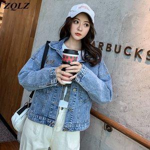 ZQLZ Autumn Denim Coat Women 2020 New Streetwear Casual Jeans Overcoat Mujer Letter Short Harajuku Black Jean Jacket Female