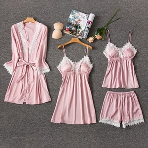 21aCU Summer belt chest pad sexy V-collar white lace suspender nightdress home clothes Four-piece Home clothes pajamas four-piece pajamas fe