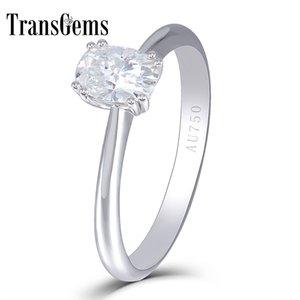 Transgems Center 2-каратное обручальное кольцо для женщин, обручальное кольцо, 14 карат белого золота, 2 карата, 7x8 мм F, цветная лаборатория, выращенная из муассанитового алмаза