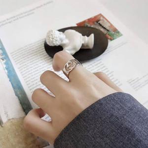 G S925 Sterling Silver Ring semplice Versatile Lettera Hollow spalancando dei volti dell'anello di barretta anello femminile