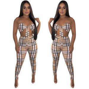 Le donne Plaid Stampa Due pezzi Pantaloni Set Estate sexy senza spalline Bow corto tubo della fasciatura Bassiera sottile lunga Suit Pant Moda Outfits