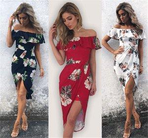 새로운 패션 여성 꽃 드레스 짧은 소매 섹시한 오프 숄더 보헤미안 드레스 여성 그레이스 드레스 2018 새로운 도착