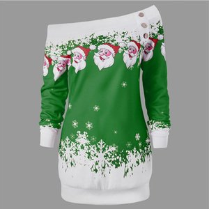 Wholesale-AZULINA Causal T-Shirts Santa Claus Snowflake Skew Neck Pullover Christmas T Shirt Jumper Outerwear Autumn Women Button Tops