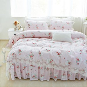 12 Colors 100% Cotton Lace edge Girls Bedding set Floral Print King Queen Twin size Bed skirt set Pillow shams