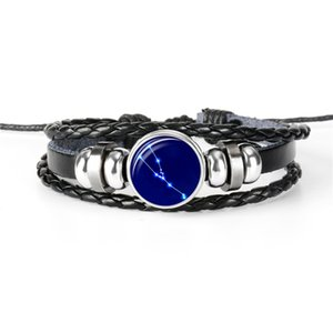 New Casual Weave Multilayer 12 Horoscope Zodiac Taurus Time Gem Glass Cabochon Black Leather Rope Beaded Bracelet For Women Men Jewelry Gift