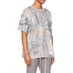20ss 최신 TOP 힙합 여러 가지 빛깔의 꽃 인쇄 남성 여성 반팔 T 셔츠 오버 사이즈 코튼 티셔츠