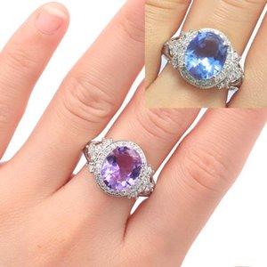 Alexandrite Topaz Beyaz cz Hediye İçin Kızlar Gümüş Rings Değişen 21x16mm SheCrown Yeni Geliş Renk