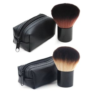 Gold Black Retractable Brush Women Makeup Brush Portable Foundation Blush Multifunctional Powder Brush With Leather Bag