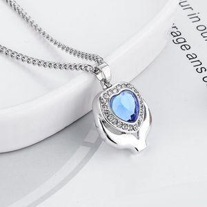 Ожерелье Keepsake Подвеска Ash Подвеска для женщин Мужчины бесплатную доставку Crystal Blue сердца кремации урна ожерелье ювелирных изделий Мемориальная
