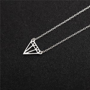 30 geometric hollow diamond necklace flat diamond polygon triangle hollow pendant ladies 2018 fashion metal alloy necklace pendant jewelry