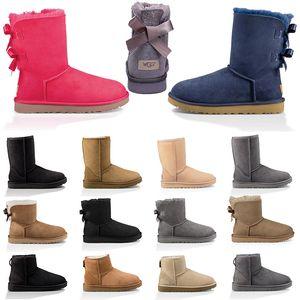 여성 겨울 눈 부츠 발목 짧은 활 블랙 밤나무 그레이 블루 패션 여자 야외 신발 무료 배송 저렴한 디자이너 호주 부트