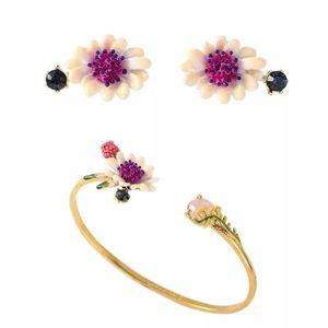 2018 Amybaby Designer Handmade Enamel Glaze 자주색 꽃 로즈 버드 목걸이 드롭 귀걸이 조절 가능한 링 팔찌 목걸이