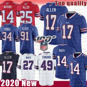 17 Josh Allen 14 Sammy Watkins Fußball-Jersey-49 Tremaine Edmunds 27 Tre'Davious Weiß 91 Oliver Jim Kelly Thurman Thomas Buffalo