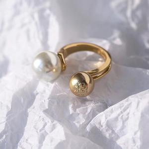 Venda quente material de latão Anel de Abertura Mid Finger Knuckle Anéis com pérola 1.1 cm contas primavera combinação Anéis Estilo Geometria Jóias PS6414