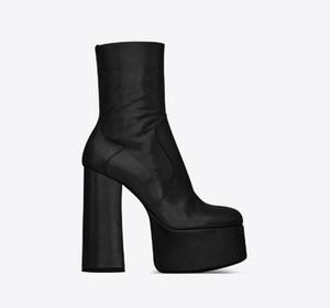 Zapatos de las mujeres del cuero genuino Billy Botín con plataforma del talón grueso de la cremallera lateral cubierto Moda Pop New Paris Botas
