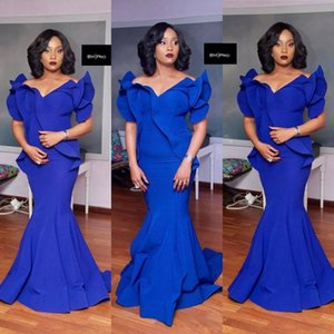 Vestidos de noche africanos de talla grande sirena volantes correas ajustados formales Vestidos de baile para ocasiones especiales Custom mujeres robes de soirée 2019