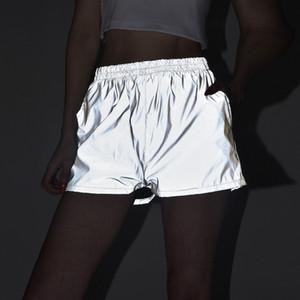 Frauen 3M Reflective Shorts Art und Weise graue beiläufige Hiphop Skateboard High Waist Shorts Coole Damen beiläufige Hosen