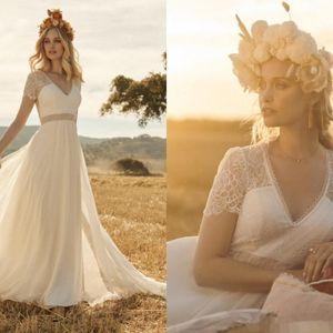Nouvelle Rembo de 2020 robe bohème mariage dentelle vintage Appliqued col en V Pays Plage Boho Robes de mariée 86