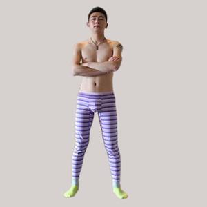 Faixa impressão homens leggings outono inverno nova maré rússia china estilo corajoso homem amarelo azul longo johns magro elasticidade algodão mistura calças