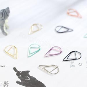 Forma de gota de los clips de papel Material Metal Oro Plata color divertido de Kawaii oficina de la señal Shool papelería Marcado Clips 10pcs / lot FFA3145