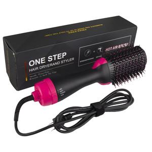 Secador de pelo profesional del cepillo 2 en 1 enderezadora del bigudí de pelo Peines multifuncional 1 KW eléctrico secador del soplo con el peine cepillo de pelo del rodillo