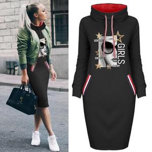 Yeni Varış Kadın Sonbahar Hoodie Elbiseler Moda DIY Elbiseler Baskılı Rahat Bayanlar Kapüşonlu Boyutu S-3XL ile Elbiseler