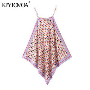 KPYTOMOA Femmes 2020 Mode imprimé géométrique asymétrique Halter Blouses Vintage fentes latérales bretelles Femme Chemises Blusas Tops Chic