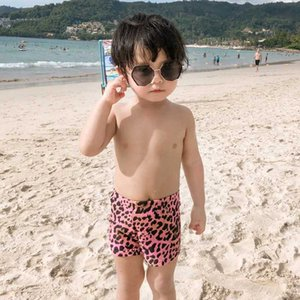 Children's Boys Swimsuit Baby Swimming Pants Leopard Print Medium Boy Pink Coffee Coffee Color Nylon Spandex Comfortable Smooth
