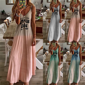Sexy Slim Designer Femmes Robes Lettres de couleurs gradient Sling Casual sans manches V Neck Vase Femme Robes Multi Choice Robe