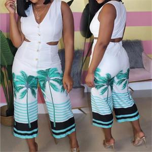 Без рукавов выдалбливают Комбинезоны для женщин Sexy V шеи Coco Tree Printed Bodysuits Летних Широкие Legs ползунки