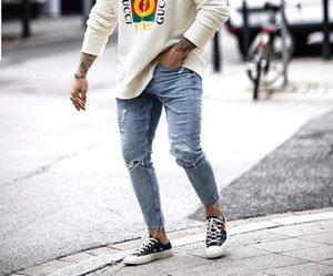 Одежда мужская Проектировщик Hole Заусенцы Zipper карандаш брюки Тощий Омывается летние Casual середины талии мужские джинсы