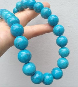 """14mm BAROQUE Natural Blue TURQUOISE NECKLACE for Women Chokers 18"""" Jewelry"""