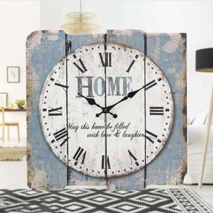 "15"" Rustic Farmhouse Roman Holz Wanduhr Vintage Retro-Art-Quadrat Ziffer Mute Wandbehang Uhren Uhr Home Decor Y200407 Getragen"