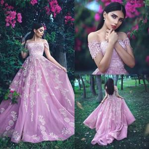 핑크 A- 라인 이브닝 드레스 2019 섹시 오프 어깨 짧은 소매 흰색 골동품 골치 아픈 건 기차 도트 드레스 플러스 사이즈 파티 가운