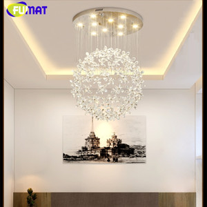 FUMAT Crystal Clear K9 Lampade a soffitto Flower Ball Stairway Modern Villa Chandelier Lighting Hanging Mall Mall GU10 Luci