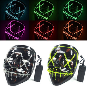 Led Masque Halloween Neon Light Up Purger Masque crâne drôle de mascarade Costume Party Election Masques Glow In Dark Effrayant cosplay Film XD19802