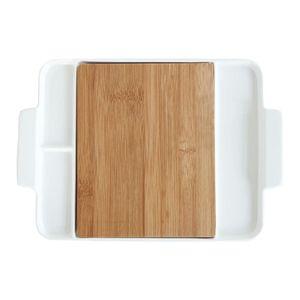 Dikdörtgen beyaz porselen peynir tahta araçları ile doğa bambu kesim porsiyon tabağı suşi kahvaltı meyve
