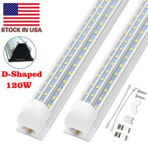 더블 사이드 4 행 120W 8피트 쿨러 도어 냉장고 LED 조명 4피트 5피트 6피트 8피트 LED 튜브 라이트 V 모양 통합 LED 튜브