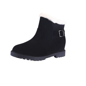 2019 autumn and winter new European and American thick-soled warm low tube sleeve women's boots black