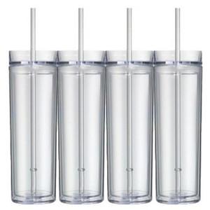 16 onças magro Tumbler com tampa de palha acrílico branco Garrafa Magro Copo alto caneca de plástico Água 6 cores MMA2880-A1