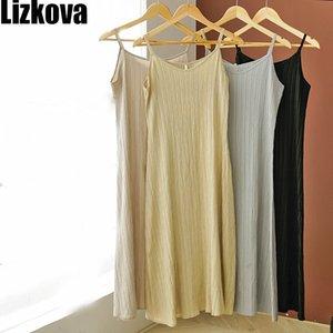 omen's Clothing es Lizkova Spaghetti Strap Dress Women Sexy V-neck Camisole Dress Sleeveless Summer 2020 Ladies Soft Holiday Beach Dress ...