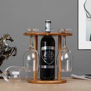 Vous pouvez aller à l'usine pour vérifier les produits, à l'envers barre de plateau en verre de vin décompteur haut suspendu en bambou porte-gobelets en verre