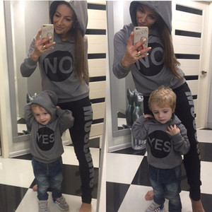 Vieeoease Girls Boys Hoodies Christmas Long Sleeve Letter Top for Mommy and me 2019 Otoño Invierno Trajes a juego de la familia CC-595