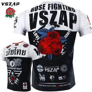 Vszap Rose Kurzarm schnell trocknend Kleidung Männer Fitness Stretch T-shirt Muay Thai MMA Sport Kämpfen Kampf Broadcast T-Shirts Y200422