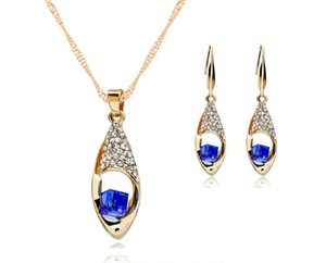Crystal Diamond Angel Tears Drop Necklace Earrings Jewelry Sets Gold Chain Necklace For Women Party Fashion Wedding Jewelry Gifts Crafts NEW